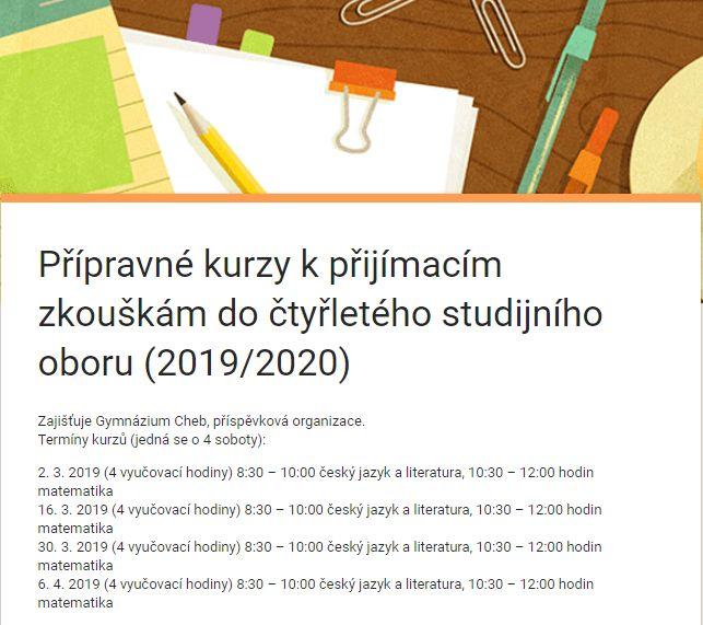Přípravné kurzy na přijímací zkoušky pro žáky 9. tříd