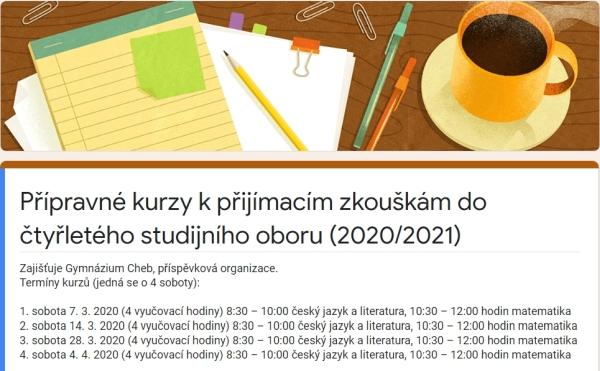Přípravné kurzy na přijímací zkoušky pro žáky 5. a 9. tříd