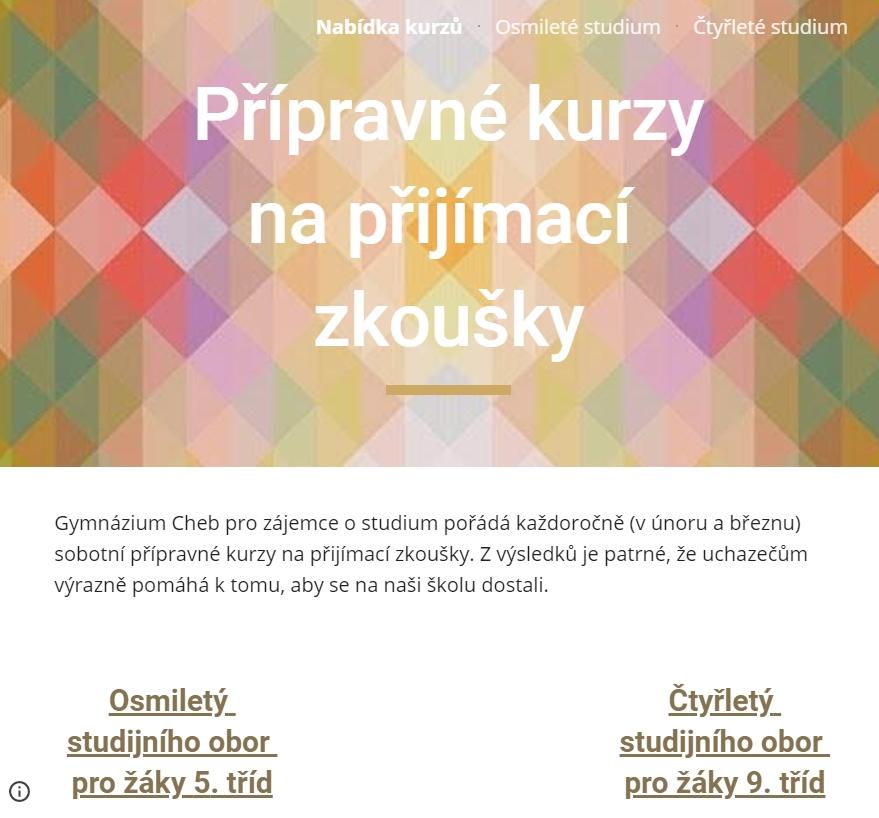 Informace kpřípravným kurzům kpřijímacím zkouškám na Gymnáziu Cheb